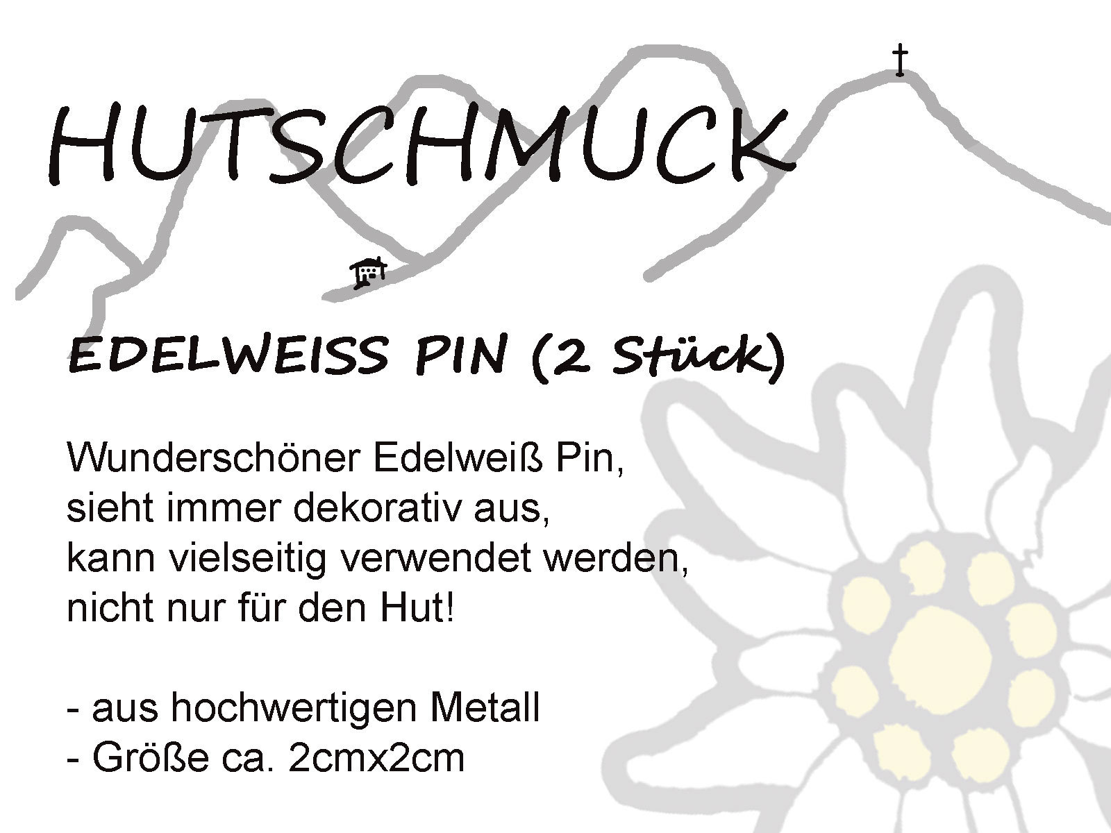 Edelweiss-Pin-klein-2-Stueck